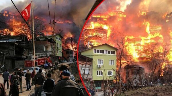Son dakika haberi... Artvinin Yusufeli ilçesinde yangın dehşeti 60a yakın ev yandı