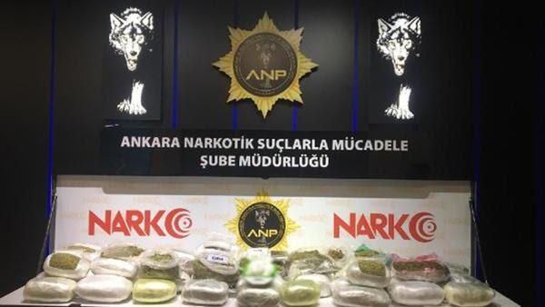 Ankarada uyuşturucu operasyonunda 67 kilo 550 gram esrar ele geçirildi